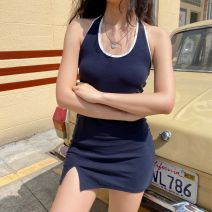 Dress Summer 2020 Navy (2-3cm longer than the figure) S,M,L,XL Short skirt singleton  Sleeveless street Crew neck High waist Solid color 18-24 years old LYQ00287 91% (inclusive) - 95% (inclusive) other cotton