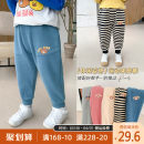 trousers Qiqi Miaomiao male 90cm,100cm,110cm,120cm,130cm Gray, dark blue, black and white stripe, beige, pink spring and autumn trousers Korean version There are models in the real shooting Casual pants Leather belt middle-waisted Cotton blended fabric Cotton 65% polyester 35% B111KZ009 other