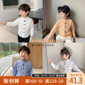 shirt White, blue, yellow, blue white grid, yellow white grid, panda on white background, pink, white 1 Qiqi Miaomiao male 90cm,100cm,110cm,120cm,130cm spring and autumn Long sleeves leisure time lattice cotton stand collar Cotton 100% B111CC001 Class A