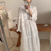 Dress Spring 2021 white Average size Short skirt singleton  Short sleeve commute Crew neck High waist Decor Socket A-line skirt routine Others 18-24 years old Type H Lace More than 95% other polyester fiber