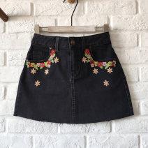 skirt Summer 2020 S,M,L black Short skirt Natural waist A-line skirt Embroidery