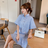 Dress Spring 2021 blue S,M,L Short skirt singleton  Short sleeve commute stripe Single breasted A-line skirt Others 18-24 years old Mu Nai Yi Q9651