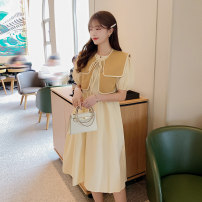 Dress Spring 2021 yellow Average size Mid length dress other elbow sleeve Sweet Crew neck High waist Solid color Socket A-line skirt puff sleeve Others 18-24 years old Type A Mu Nai Yi college