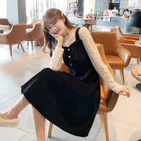 Dress Spring 2021 black Average size Mid length dress Fake two pieces Long sleeves commute Crew neck Elastic waist Three buttons A-line skirt routine 18-24 years old Type A Mu Nai Yi Q9109
