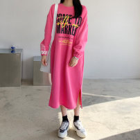 Dress Winter 2020 Grey, black, pink Average size longuette singleton  Long sleeves Sweet Crew neck letter Socket other routine 18-24 years old 51% (inclusive) - 70% (inclusive) other cotton
