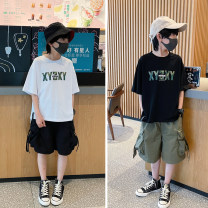 T-shirt White, black Other / other 110 / 110cm, 120 / 120cm, 130 / 130cm, 140 / 140cm, 150 / 150cm, 160 / 160cm, 170 / 165cm male summer Short sleeve Crew neck There are models in the real shooting nothing other other Cotton 95% polyurethane elastic fiber (spandex) 5% Class B Chinese Mainland