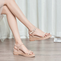 Sandals Suede Other / other Barefoot Slope heel High heel (5-8cm) Summer of 2019 Flat buckle Simplicity Solid color Adhesive shoes Youth (18-40 years old) rubber daily Ankle strap Slope heel Low Gang Lateral space PU PU X11 One line sandals