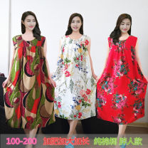 Nightdress Other / other Sweet Sleeveless Living clothes Middle-skirt summer Solid color youth Crew neck viscose  printing More than 95% pure cotton