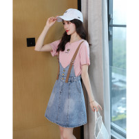 Dress Summer 2020 S,M,L,XL Middle-skirt Two piece set Short sleeve commute Crew neck High waist Solid color Socket A-line skirt routine straps 25-29 years old Type A Other / other Korean version pocket 51% (inclusive) - 70% (inclusive) Denim cotton