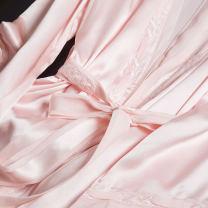 Dress Spring 2021 Pink nightdress M,L,XL Mid length dress singleton  Long sleeves commute Loose waist pagoda sleeve Type H Pu Xu Retro Frenulum More than 95% silk