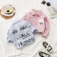 shirt Pink, blue Mr Littlelittle male 90cm,100cm,110cm,120cm,130cm spring and autumn Long sleeves leisure time stripe Pure cotton (100% cotton content) Lapel and pointed collar Cotton 100% Class B