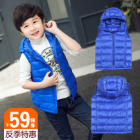 Down vest 110cm, 120cm, 130cm, 140cm, 150cm, 160cm, 170cm, the waistcoat is a small size, it is recommended to choose a larger size AI BEIMENG Solid color White duck down spring and autumn Thin type 50% neutral nylon Black, sapphire, red, rose, Navy, orange