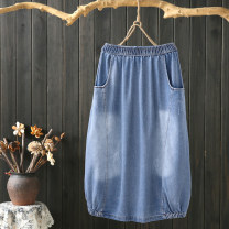 skirt Spring 2021 L,XL Dark, light longuette commute Natural waist A-line skirt Solid color Type A 25-29 years old More than 95% Denim cotton Embroidery