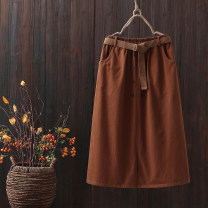 skirt Spring 2021 Average size Black, coffee, brown longuette commute Natural waist A-line skirt Solid color Type A 25-29 years old 91% (inclusive) - 95% (inclusive) brocade cotton