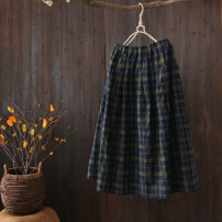 skirt Summer 2020 Average size Black gray grid, green black grid Mid length dress fresh Natural waist A-line skirt lattice