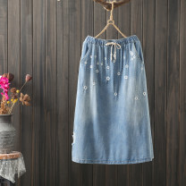 skirt Autumn 2020 L,XL Dark, light longuette commute High waist A-line skirt Solid color Type A 25-29 years old More than 95% Denim cotton pocket literature