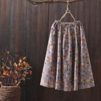 skirt Spring 2020 Average size Gray blue flower series, taro purple flower series Mid length dress commute Natural waist A-line skirt Decor 25-29 years old Retro