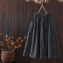 skirt Autumn 2020 Average size Blue flower , Luose fragmentary flower longuette commute Natural waist A-line skirt Decor Type A 25-29 years old cotton printing