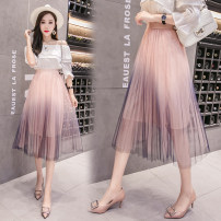 skirt Summer of 2018 Average size Apricot, white, pink Mid length dress commute High waist Pleated skirt Type A Other / other Hollowing out Korean version