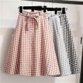 skirt Spring of 2019 Average size Grey, black, orange Mid length dress Versatile High waist A-line skirt lattice Type A