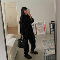 short coat Autumn of 2019 S [out of stock, no supplement], m [out of stock, no supplement] Black top, black casual pants Long sleeves routine routine Two piece set easy street routine other Single breasted Solid color 25-29 years old 31% (inclusive) - 50% (inclusive) polyester fiber polyester fiber