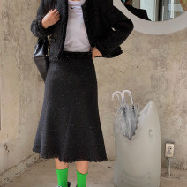 skirt Autumn of 2019 black Mid length dress street High waist skirt Solid color Type X 25-29 years old 30% and below other wool Tassels, stitching Europe and America