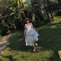Dress Summer of 2019 white longuette singleton  Sleeveless street square neck Loose waist Solid color Socket Irregular skirt other camisole 25-29 years old Type A Other / other More than 95% other cotton Europe and America