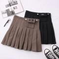 skirt Autumn 2020 S,M,L,XL Khaki, black Short skirt High waist Pleated skirt Solid color Type A