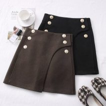 skirt Autumn 2020 S,M,L,XL Black, brown Short skirt High waist Solid color Type A 30% and below