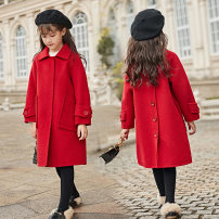 woolen coat Black, red, light blue 110cm,120cm,130cm,140cm,150cm,160cm female 3QR Cashmere There are models in the real shooting nothing Korean version routine winter Single breasted Wool 80% others 20% Solid color 3QR-R060 Class C Intradermal bile duct