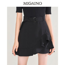 skirt Autumn 2020 XS,S,M,L,XL,XXL black Short skirt High waist A-line skirt Solid color Type A 25-29 years old More than 95% Migaino / manyanu polyester fiber Ruffles, asymmetric