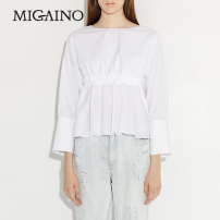 shirt white XS,S,M,L,XL Spring of 2019 other 30% and below three quarter sleeve Regular Crew neck other routine 25-29 years old Migaino / manyanu MJ13AC115
