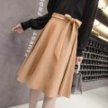 skirt Spring of 2019 XS,S,M,L,XL,2XL Black, Burgundy, khaki Mid length dress commute High waist A-line skirt Solid color Type A EL0921 Korean version