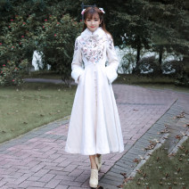 woolen coat Winter 2020 XL,L,M,S Off white (with wool leader set), black (with wool leader set) wool 30% and below Medium length Long sleeves commute Single breasted Princess sleeve stand collar Solid color Retro Chen Shi Bows, embroidery Tweed