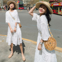 Dress Summer of 2018 White, off white, light pink M,L,XL Mid length dress singleton  three quarter sleeve commute Crew neck Loose waist Solid color Socket Big swing 18-24 years old Other / other Korean version Lace