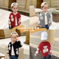 Sweater / sweater 80CM,90CM,100CM,110CM,120CM,130CM other male Black, grey, jujube Small die leisure time There are models in the real shooting Single breasted routine other nothing Fine wool Cartoon animation X2074 2, 3, 4, 5, 6, 7, 18 months