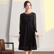 Dress Autumn 2020 Black (long skirt) L,XL,2XL,3XL,4XL,5XL longuette Fake two pieces Long sleeves commute Crew neck Solid color zipper A-line skirt pagoda sleeve 30-34 years old Type A lady Q32002 Lace