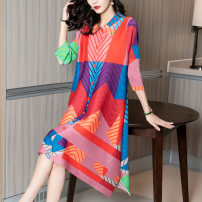 Dress Spring 2021 Mid length dress singleton  three quarter sleeve commute Polo collar Loose waist stripe Single breasted other routine Others 40-49 years old Type H lady printing More than 95% other polyester fiber