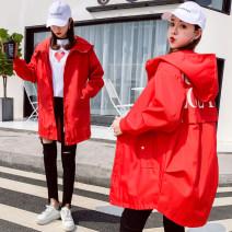 short coat Spring 2021 Long sleeves Medium length Thin money singleton  easy commute routine Hood zipper letter 25-29 years old 96% and above Pocket, zipper acrylic fibres nylon