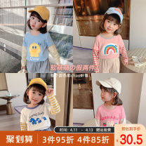 T-shirt White, blue, yellow, pink, pink 1, fruit green Qiqi Miaomiao 90cm,100cm,110cm,120cm,130cm female spring and autumn Long sleeves Crew neck leisure time There are models in the real shooting nothing cotton Cartoon animation Cotton 100% B111TX004、B111TX005 other