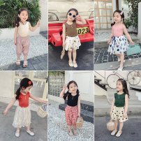 Vest sling Black, red, blue, yellow, white, pink, brick red, dark green, beige, coffee, army green, black 1 Sleeveless 90,100,110,120,130,140 summer Yiqi baby female There are models in the real shooting leisure time Solid color Crew neck nothing Pure cotton (95% and above) C92G17BX016
