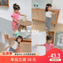 suit Qiqi Miaomiao White + black, pink 90cm,100cm,110cm,120cm,130cm female summer personality Short sleeve + pants 2 pieces Thin money Socket nothing other cotton YD12TZ018 other Cotton 94% polyurethane elastic fiber (spandex) 6%