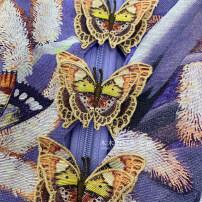Dress Summer 2021 Blue purple three dimensional butterfly print skirt 0P (no return), 0 (no return), 1 (no return), 2 (no return) Short skirt singleton  Long sleeves commute Crew neck High waist zipper bishop sleeve 25-29 years old Type A court 31% (inclusive) - 50% (inclusive) silk