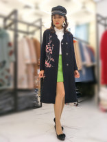 woolen coat Autumn of 2019 Red, Navy wool 95% and above Long sleeves Half open collar Embroidery