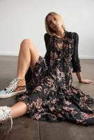 Dress Winter 2020 Pink combination, forest combination XS,S,M longuette singleton  Long sleeves street V-neck Loose waist Decor Socket A-line skirt routine 25-29 years old Type A Free People printing Chiffon polyester fiber Europe and America