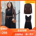 Women's large Winter 2020 Black (shirt), brown (shirt), Beixing (shirt), black (dress), army green (dress) Large XL, 2XL, 3XL, 4XL, 5XL, 6xl Two piece set commute Self cultivation moderate Socket Sleeveless Solid color Korean version V-neck routine other Three dimensional cutting QF888 belt