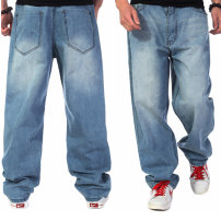 Jeans Youth fashion Others 30, 32, 34, 36, 38, 40, 42, 44, 46 yards (3'52) Make old blue routine No bullet Regular denim trousers Other leisure spring Large size High waist Loose straight tube Hip hop 2021 Straight foot zipper Snow wash, sand wash, stone wash / stone mill, water wash other cotton