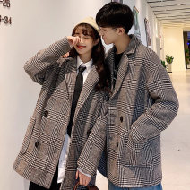 Windbreaker Winter of 2019 S,M,L,XL,2XL Coffee Brown Long sleeves thickening Medium length Sweet double-breasted tailored collar routine Straight cylinder Other / other 18-24 years old polyester fiber college