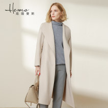 woolen coat Autumn of 2019 160/84A/M 165/88A/L 165/92A/XL KJ: beige II Black wool 71% (inclusive) - 80% (inclusive) Medium length Long sleeves commute Frenulum routine V-neck Solid color Straight cylinder Ol style AD00909 Helmans Solid color Wool 80% polyester 20% Exclusive payment of tmall