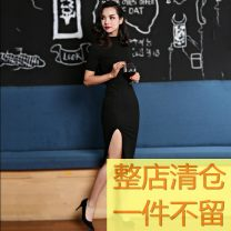 Dress Summer 2016 black 40. L, m, s, XS, please note the size for customization Middle-skirt singleton  Short sleeve commute stand collar High waist Solid color zipper One pace skirt routine Others Type H Simplicity